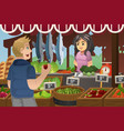 man shopping in a farmers market vector image