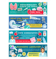 medical clinic doctor with diagnostic tool banners vector image vector image