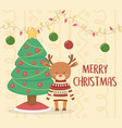 merry christmas celebration cute reindeer with vector image