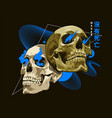 mixed art skulls with abstract shapes vector image vector image