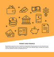 money and finance poster template in line style vector image vector image