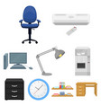 office furniture and interior set icons in cartoon vector image vector image