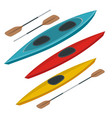 rafting and kayaking icons collection isometric vector image