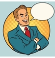 Retro businessman in a comic book frame vector image vector image