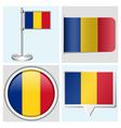 Romania flag - sticker button label flagstaff vector image vector image