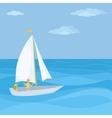 sailing boat in the sea vector image