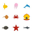 sea animals icons set flat style vector image vector image