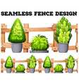Seamless design with fence and potted plants vector image vector image