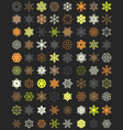 set of colorful snowflakes vector image