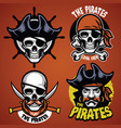 set pirate badge vector image