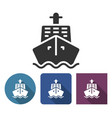 ship icon in different variants with long shadow vector image