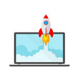 the spacecraft and laptop vector image vector image