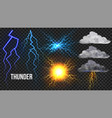 thunder lightnigs set bolt night sky vector image
