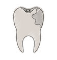 tooth with root and caries by side in colored vector image vector image