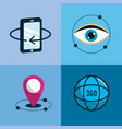 virtual reality with digital technology elements vector image vector image
