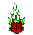 wolf flaming fire logo mascot design vector image