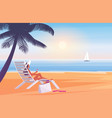 woman in hat and bikini relaxing sitting in chair vector image
