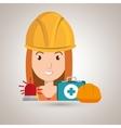 worker kit aid helmet icon vector image