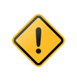 yellow exclamation danger sign vector image vector image