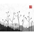 young tree branches and mountains in fog on rice vector image vector image
