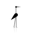 Funny stork black silhouette for your design vector image