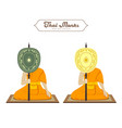 thai monks holding talipot fan collections vector image