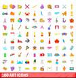 100 art icons set cartoon style vector image vector image