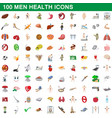 100 men health icons set cartoon style vector image vector image