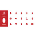 15 wear icons vector image vector image
