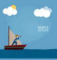 a businessman on a ship is looking for a way vector image vector image