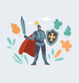 a knight man with sword on white vector image