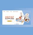 art studio web landing page studying in vector image vector image