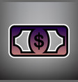 bank note dollar sign violet gradient vector image vector image