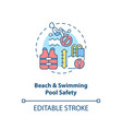 beach and swimming pool safety concept icon vector image