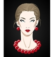 Beautiful young woman portrait with red necklace vector image vector image