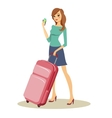 Beauty with travel trolley case on wheels vector image