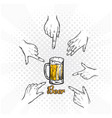 beer hands select beer background image vector image