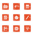 boost the economy icons set grunge style vector image vector image
