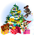 cartoon sign we wish you merry christmas and happy vector image vector image