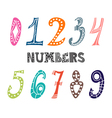 Collection of cute colorful numbers Numbers set vector image