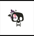 cute cartoon skull decorated with rose flowers vector image vector image