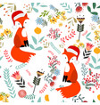 cute sweet merry christmas fox in flower and vector image vector image