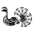 Decorative Peacock black and white vector image vector image