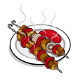delicious fried meat on skewers with ketchup vector image
