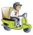 delivery boy on scooter vector image vector image