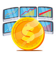 dollar with graph diagram trading monitors vector image