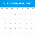 EU Planner blank for April 2017 Scheduler agenda vector image vector image