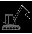 Excavator with bucket construction road works vector image vector image