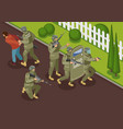 fighting terrorists isometric vector image vector image