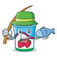 fishing yogurt mascot cartoon style vector image vector image